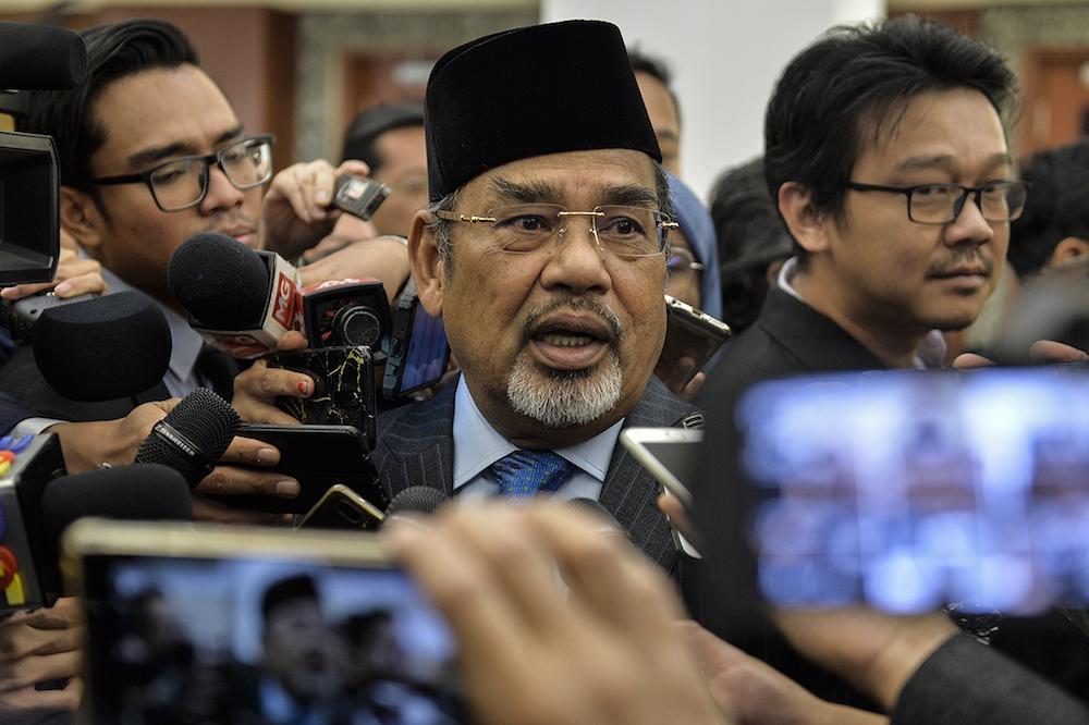 Pasir Salak MP Datuk Seri Tajuddin Abdul Rahman speaks to reporters at Parliament, Kuala Lumpur July 3, 2019. — Picture by Miera Zulyana