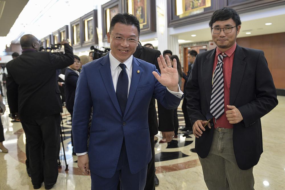 Deputy Speaker Nga Kor Ming speaks to reporters at Parliament, Kuala Lumpur July 3, 2019. — Picture by Miera Zulyana