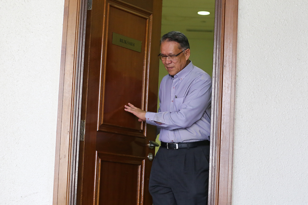 Former Kuala Lumpur mayor Tan Sri Amin Nordin Abd Aziz is pictured at the Kuala Lumpur Court Complex July 3, 2019. — Picture by Yusof Mat Isa