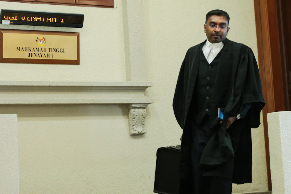 Lawyer Habizan Rahman representing Jakel Trading is pictured at the Kuala Lumpur High Court July 4, 2019. — Picture by Ahmad Zamzahuri