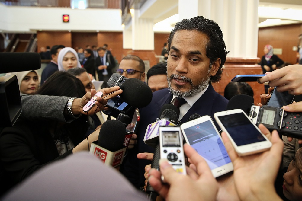 Khairy Jamaluddin speaks to reporters at the Parliament lobby in Kuala Lumpur July 4, 2019. — Picture by Yusof Mat Isa