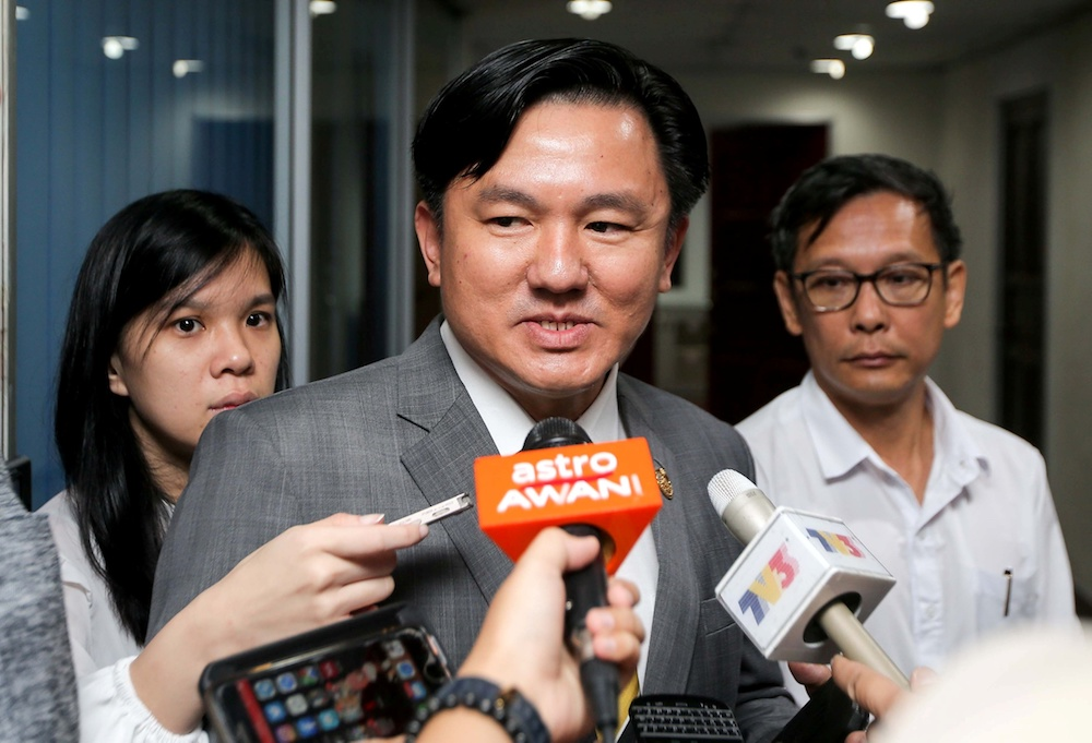 Perak executive councillor Paul Yong speaks to reporters at his office at the State Secretariat Building in Ipoh July 12, 2019. — Picture by Farhan Najib
