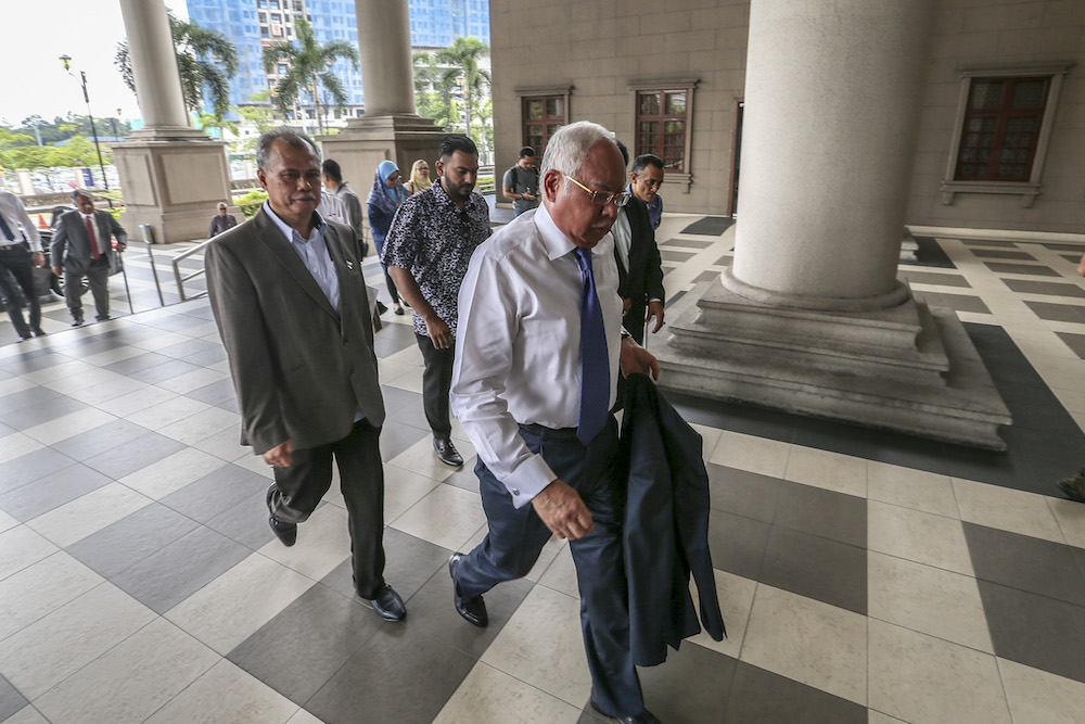 Former prime minister Datuk Seri Najib Razak arrives at the Kuala Lumpur High Court July 15, 2019. — Picture by Firdaus Latif