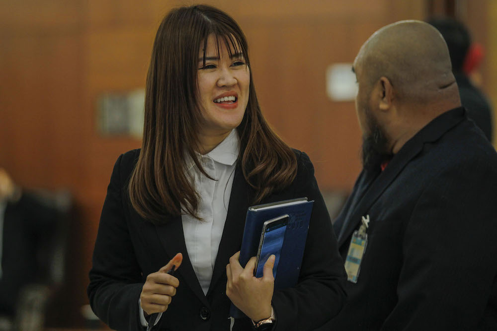 Sandakan MP Vivian Wong is seen in the lobby of Parliament in Kuala Lumpur July 15, 2019. — Picture by Hari Anggara