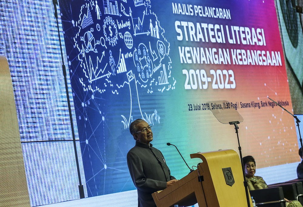Prime Minister Tun Dr Mahathir Mohamad speaks during the launch of Bank Negara Malaysia's National Strategy for Financial Literacy 2019-2023 at Sasana Kijang in Kuala Lumpur July 23, 2019. — Picture by Firdaus Latif