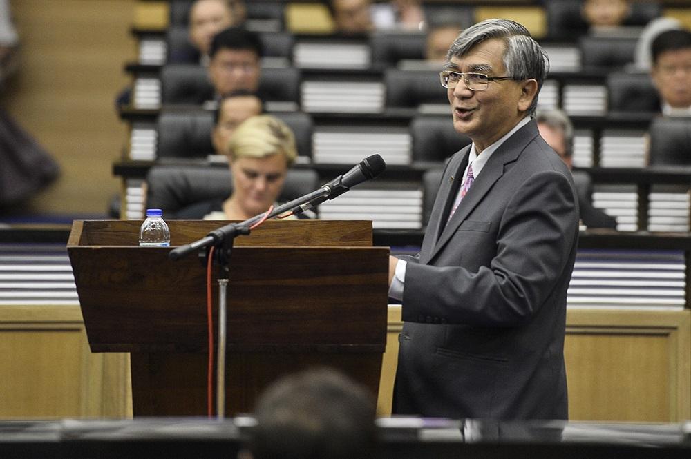 Speaker Datuk Mohammad Ariff Md Yusof speaks at Parliament in Kuala Lumpur July 26, 2019. — Picture by Miera Zulyana