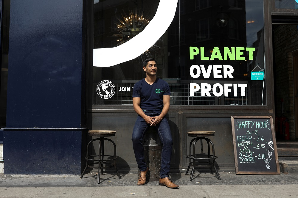 Randy Rampersand, founder of the Green Vic, who is aiming to create the world's most ethical pub, poses for a photograph in Shoreditch, London July 5, 2019. — Reuters pic
