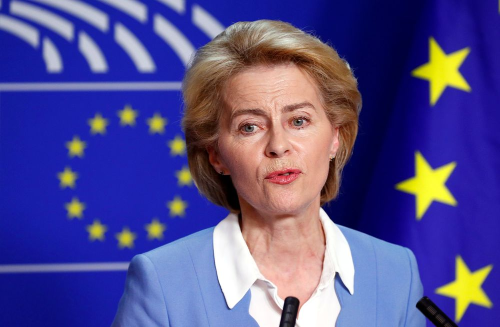 Ursula von der Leyen wrote to UK Prime Minister Boris Johnson for a second time today to urge him to nominate a British commissioner, a spokeswoman said.. — Reuters pic