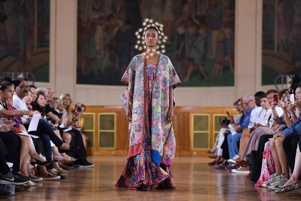 A model presents a creation by Maurizio Galante during the Women's Fall-Winter 2019/2020 Haute Couture collection fashion show in Paris June 30, 2019. — AFP pic