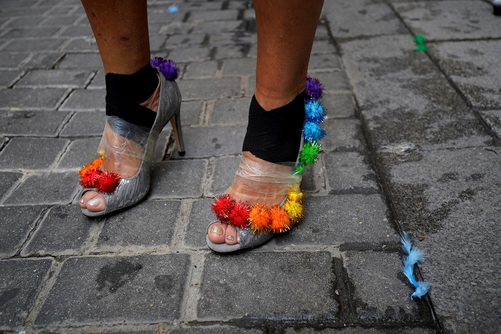 A contestant stands before the annual race on high heels during Gay Pride celebrations in the quarter of Chueca in Madrid, Spain July 4, 2019. — Reuters pic