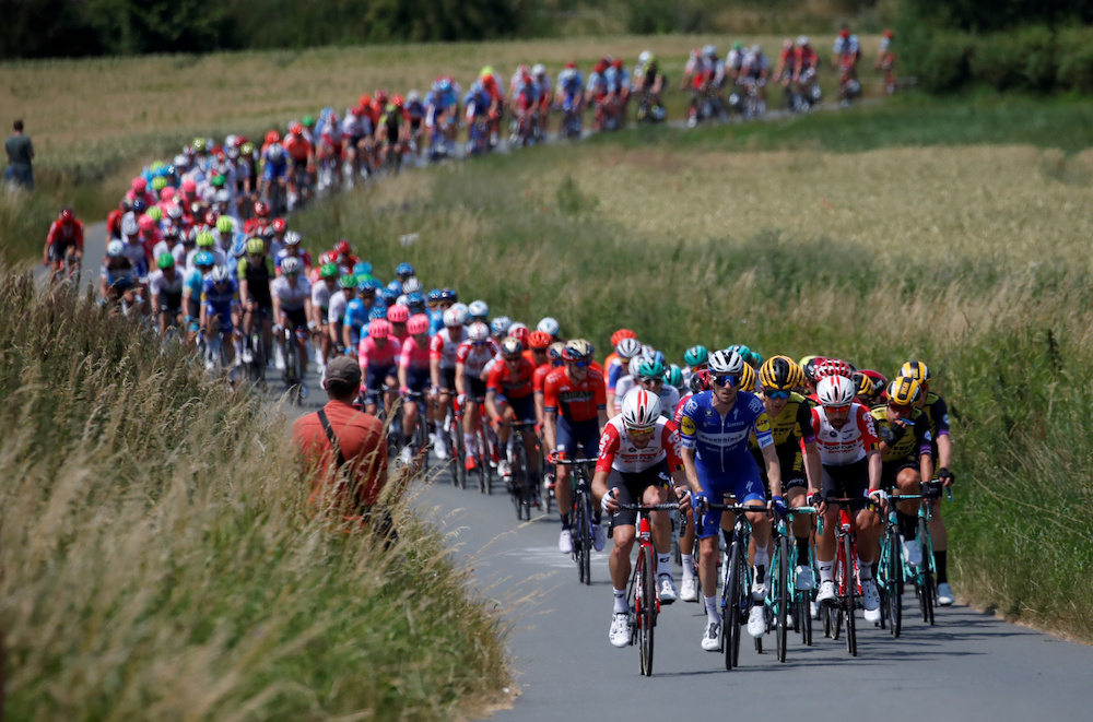 The peloton in action at Stage I of the Le Tour de France in Brussels, July 9, 2019. — Reuters pic
