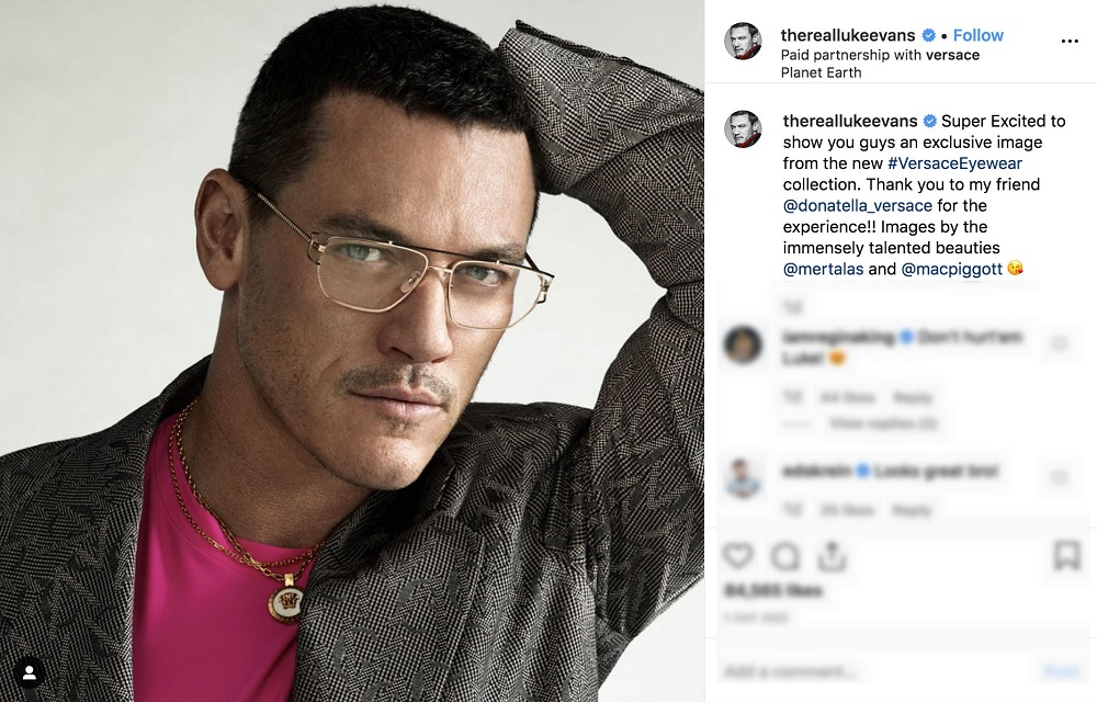 A screengrab from Luke Evans' Instagram showing his latest eyewear campaign for Versace.