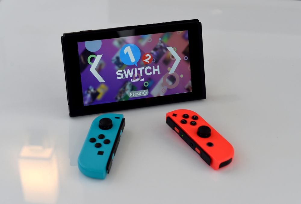 A Nintendo Switch on display at a special event in Madison Square Park in New York, March 2017. — AFP pic