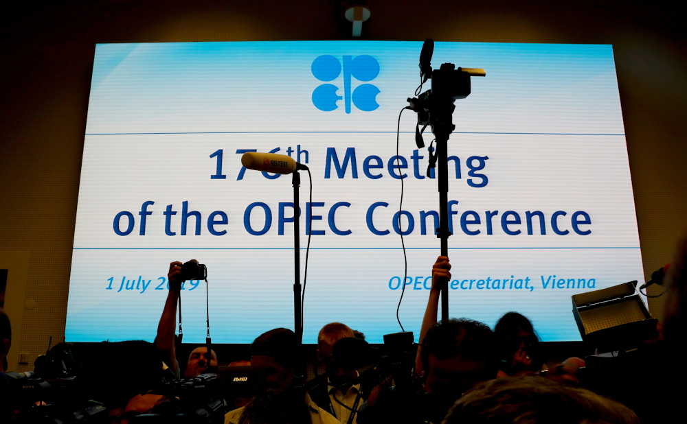 Journalists wait at the beginning of an Opec meeting in Vienna, Austria, July 1, 2019. — Reuters pic