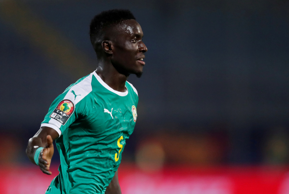 Senegal's Idrissa Gueye celebrates scoring their first goal during the Africa Cup of Nations 2019 quarter final match against Benin June 30, 2019 in Cairo, Egypt. — Reuters pic