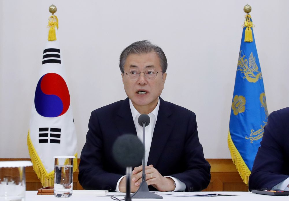 South Korean President Moon Jae-in speaks during a meeting at the Presidential Blue House in Seoul July 10, 2019. ― Yonhap pic via Reuters