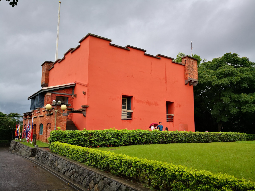 Fort San Domingo is pictured beside what is believed to be Taiwan's first ever tennis lawn.