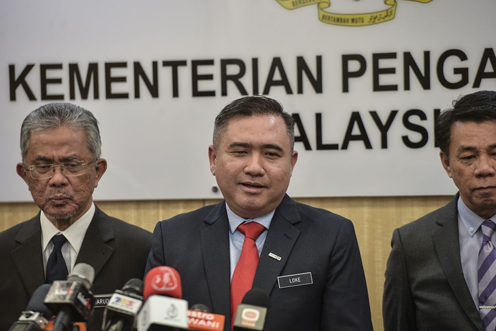 Transport Minister Anthony Loke speaks to reporters during a press conference in Putrajaya July 12, 2019. — Picture by Shafwan Zaidon