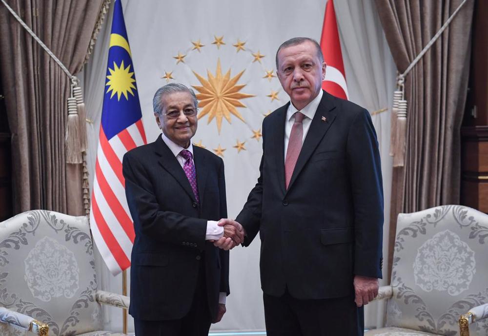 Prime Minister Tun Dr Mahathir Mohamad meets Turkish President Recep Tayyip Erdogan at the Presidential Complex in Ankara July 25, 2019. — Bernama pic