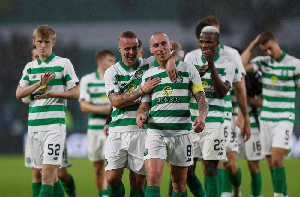 Celtic's Leigh Griffiths and Scott Brown react after the match against FK Sarajevo, July 17, 2019. Celtic will kick off their bid for a historic 10th successive Scottish Premiership title at home to Hamilton on August 2. ― Reuters pic