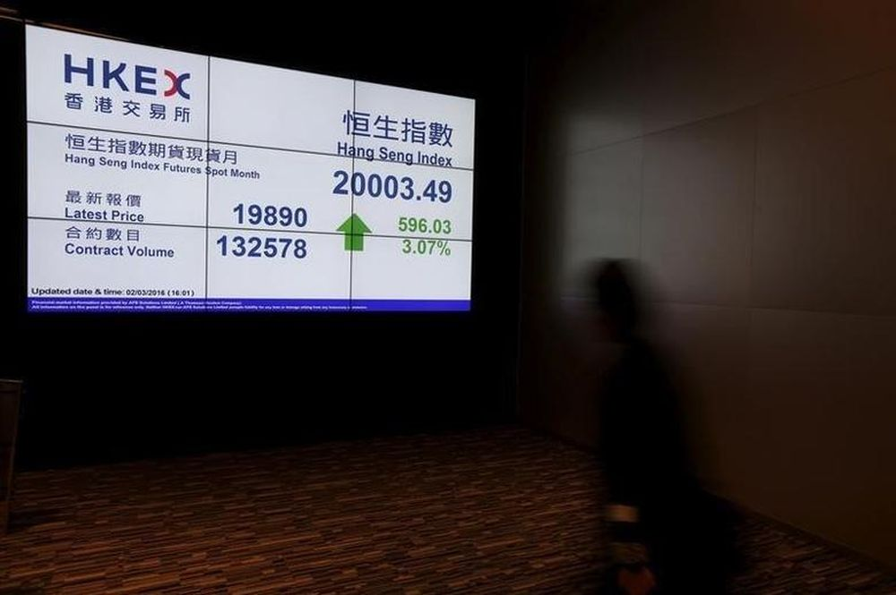 A panel displays the closing Hang Seng Index inside the Hong Kong Exchanges, on the day the stock exchange operator announces their annual results in Hong Kong March 2, 2016. — Reuters file pic