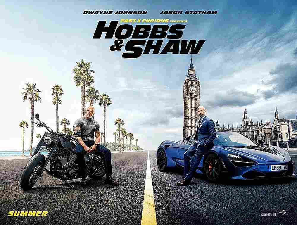 Universal's Fast & Furious Presents: Hobbs & Shaw crossed the box office finish line in first place, debuting with US$60.8 million. — Movie poster image courtesy of Universal Pictures International France via AFP
