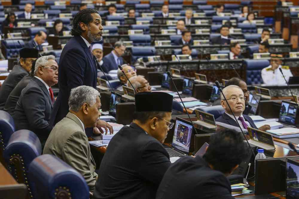 Rembau MP Khairy Jamaluddin speaks during the Parliament sitting at Dewan Rakyat, July 17, 2019. ― Picture by Hari Anggara