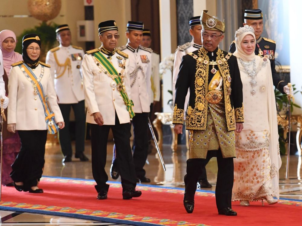 Prime Minister Tun Dr Mahathir Mohamad (centre) is pictured at Istana Negara during Sultan Abdullah's installation as the 16th Yang di-Pertuan Agong July 30, 2019. — Bernama pic