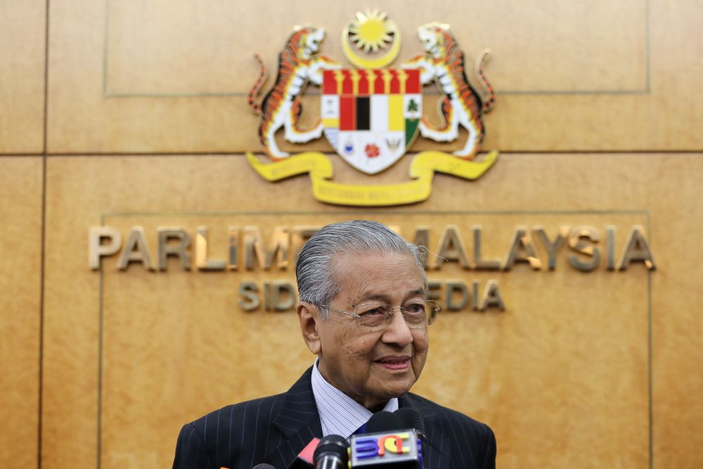Prime Minister Tun Dr Mahathir Mohamad speaks during a press conference at the Parliament lobby in Kuala Lumpur July 11, 2019. — Picture by Yusof Mat Isa