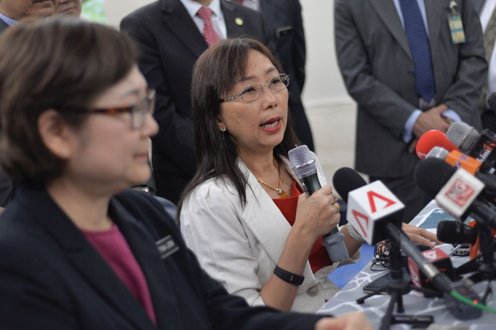 Primary Industries Minister Teresa Kok speaks during a press conference at Parliament in Kuala Lumpur July 2, 2019. — Picture by Mukhriz Hazim