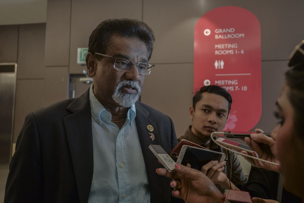 Minister of Water Land and Natural Resources Dr Xavier Jayakumar speaks to reporters during the PKR retreat in Port Dickson July 20, 2019. ― Picture by Shafwan Zaidon