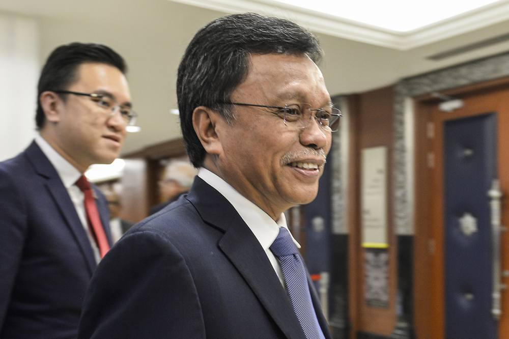 Sabah Chief Minister Datuk Seri Mohd Shafie Apdal speaks to reporters at Parliament in Kuala Lumpur July 16, 2019. ― Picture by Miera Zulyana