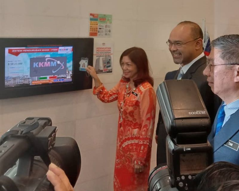 Datuk Suriani Ahmad clocks in at the Communications and Multimedia Ministry in Putrajaya July 1, 2019. — Picture via Twitter
