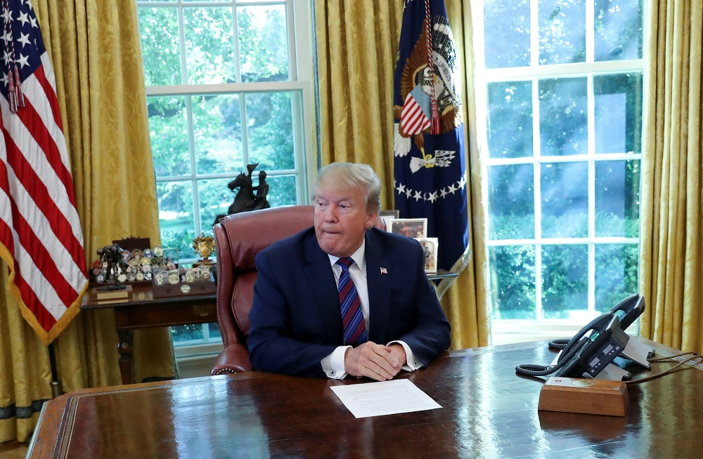 US President Donald Trump speaks in the Oval Office of the White House in Washington July 26, 2019. — Reuters pic