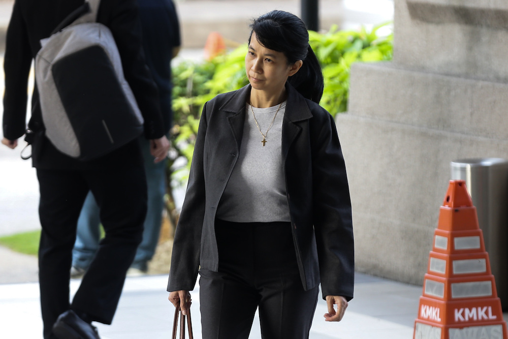 Former AmBank relationship manager Joanna Yu Ging Ping is seen at the Kuala Lumpur High Court August 1, 2019. ― Picture by Ahmad Zamzahuri