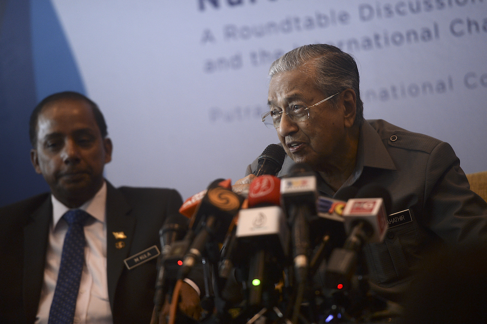 Prime Minister Tun Dr Mahathir Mohamad today advised Malaysian fishermen to increase their catch and thus reduce poaching by foreign fishermen in Malaysian waters. — Picture by Shafwan Zaidon