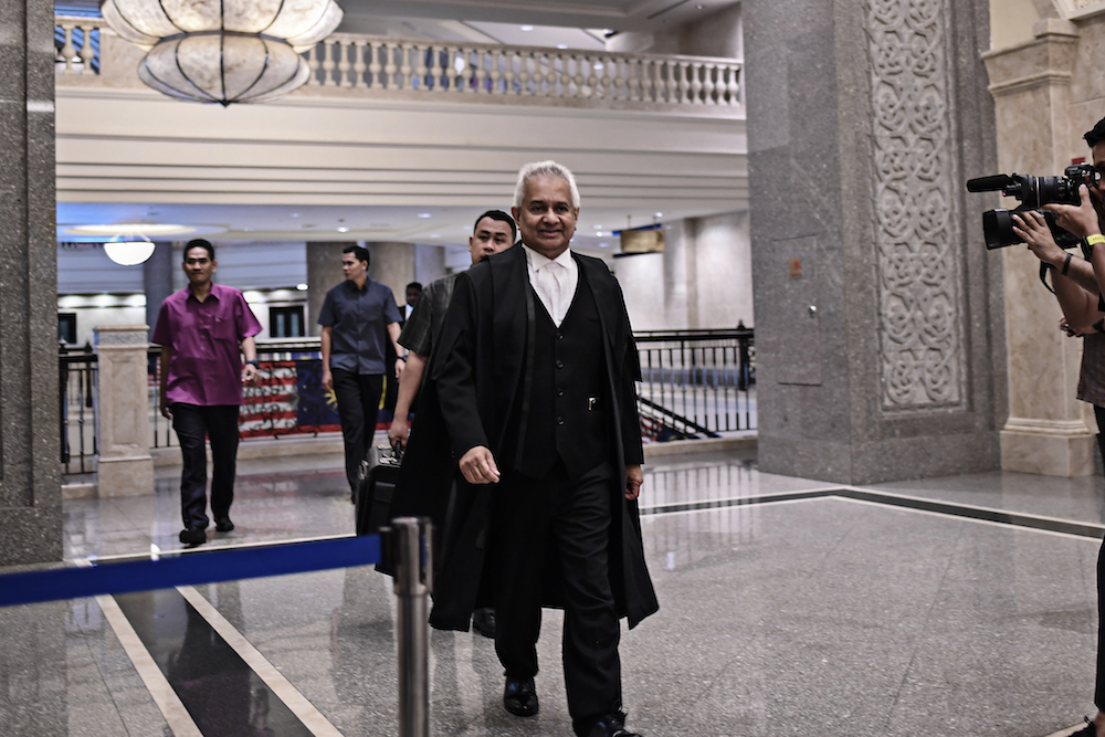 Attorney General Tommy Thomas arrives at the Palace of Justice in Putrajaya August 13, 2019. — Picture by Shafwan Zaidon