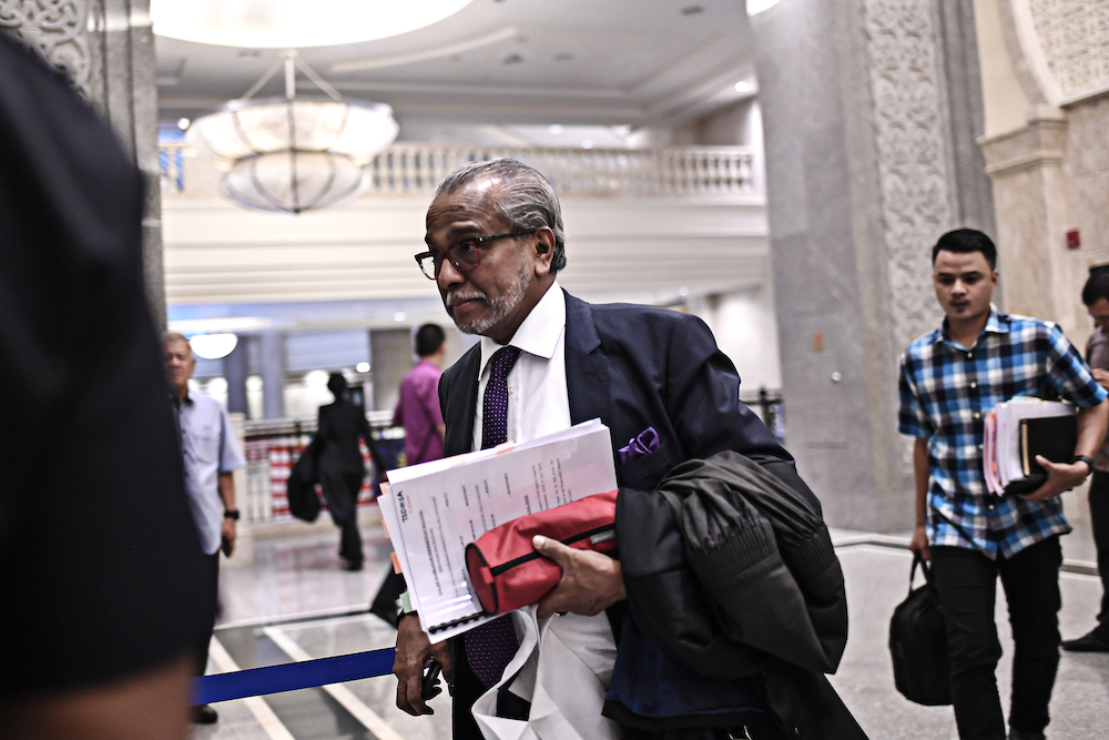 Tan Sri Muhammad Shafee Abdullah arrives at the Palace of Justice in Putrajaya August 13, 2019. — Picture by Shafwan Zaidon