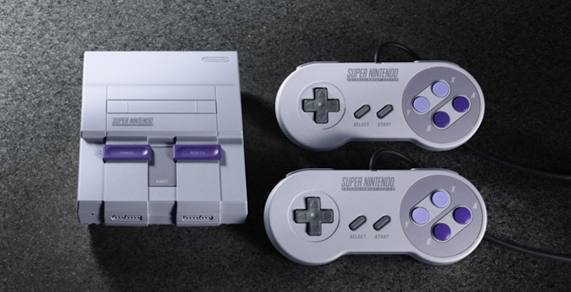 Pictured: the SNES Classic Edition Mini (left) with controllers. Reportedly, Nintendo will launch SNES controllers for the Switch. — Picture courtesy of Nintendo