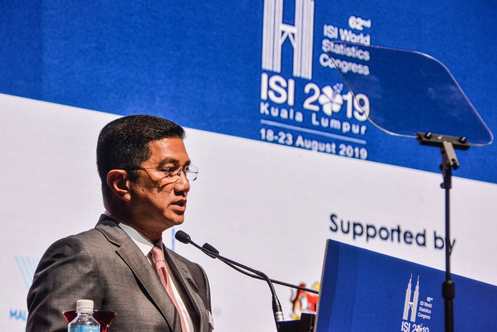 Datuk Seri Azmin Ali speaks during the launch of the 62nd International Statistical Institute World Statistics Congress 2019 (ISI WSC 2019) at Kuala Lumpur Convention Centre August 18, 2019. — Picture by Hari Anggara