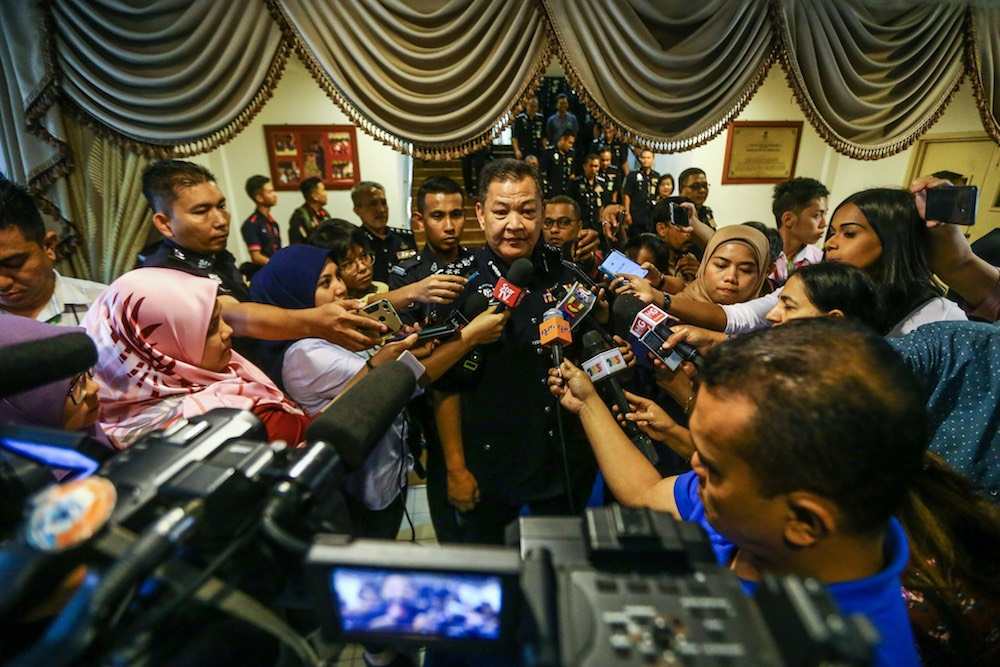 Inspector-General of Police, Datuk Seri Abdul Hamid Bador speaks to reporters at the Royal Malaysia Police College Kuala Lumpur in Cheras August 1, 2019. — Picture by Hari Anggara