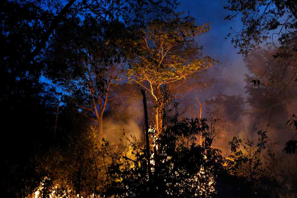 A tract of Amazon jungle burning as it is being cleared by loggers and farmers in Canarana, Mato Grosso state, Brazil August 26, 2019. ― Reuters pic