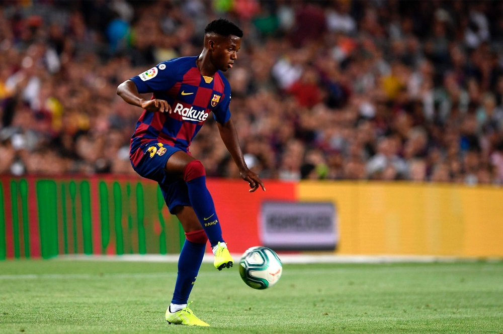 Barcelona´s Guinea-Bissau forward Ansu Fati controls the ball during the Spanish League football match between Barcelona and Real Betis at the Camp Nou stadium in Barcelona August 25, 2019. — AFP pic