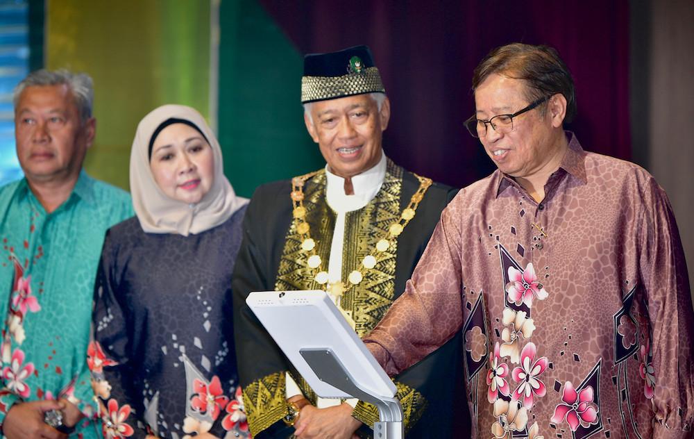 Datuk Patinggi Abang Johari Openg officiates 31st anniversary celebrations of Kuching's city status in Kuching August 1, 2019. — Bernama pic