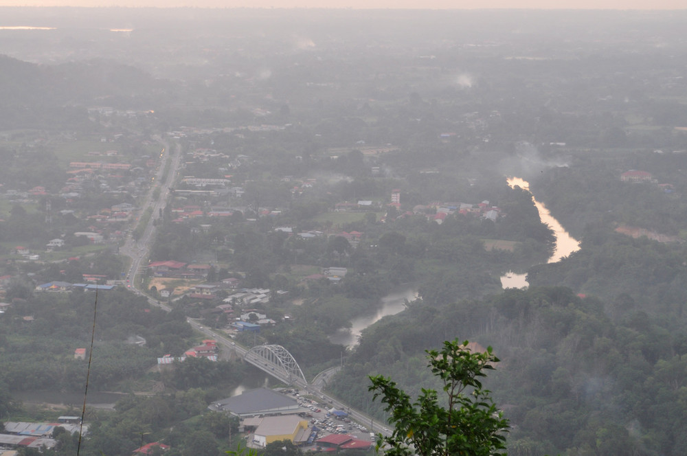 A bird's-eye view of a haze-shrouded Tamparuli in Sabah August 13, 2019. — Bernama pic
