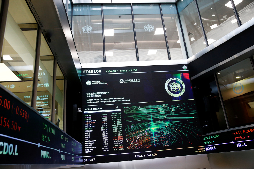 A trading screen is seen at the London Stock Exchange in London, Britain June 17, 2019. The exchange was investigating a 'potential trading services issue' and would have further information by 0750 GMT, it said in a statement on its website August 16, 2019. — Reuters pic