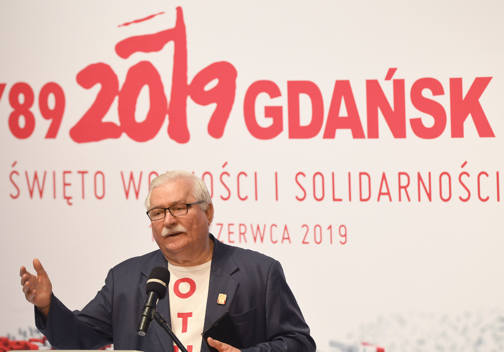 In this file photo taken June 4, 2019 former Polish President and Nobel Peace Laureate Lech Walesa speaks during a celebration of the 30th anniversary marking the first free parliamentary elections from June 4, 1989, in Gdansk, Poland. — AFP pic
