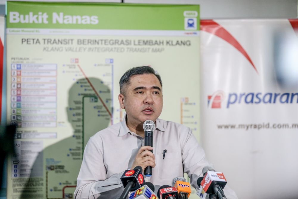 Transport Minister Anthony Loke speaks during the unveiling of the four-car Monorail train in Kuala Lumpur August 20, 2019. — Picture by Firdaus Latif