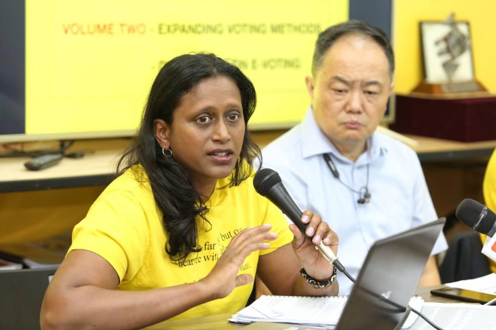Global Bersih Secretary-General Nirmala Devi Windgaeter speaks at the press conference on Overseas Voting Reforms for GE15 in Petaling Jaya August 2, 2019. ― Picture by Choo Choy May