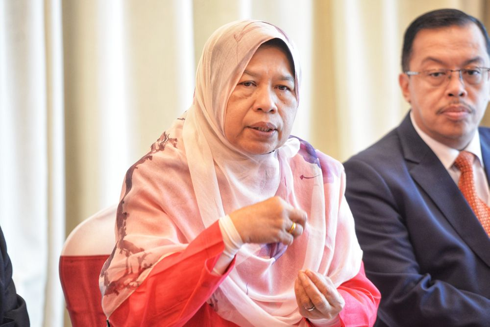 Housing and Local Government Minister Zuraida Kamaruddin speaks during a press conference in Putrajaya August 22, 2019. — Picture by Shafwan Zaidon